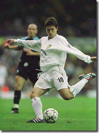 Harry Kewell with a rare moment of style for Leeds during a depressing season, against Derby in September