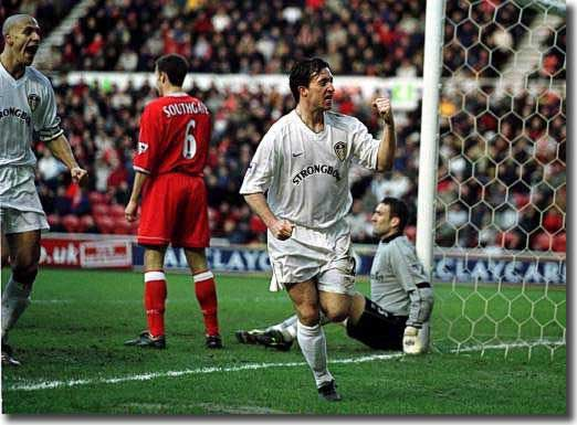 Robbie Fowler celebrates scoring Leeds' second at Middlesbrough - nevertheless, Leeds had to be content with a 2-2 draw