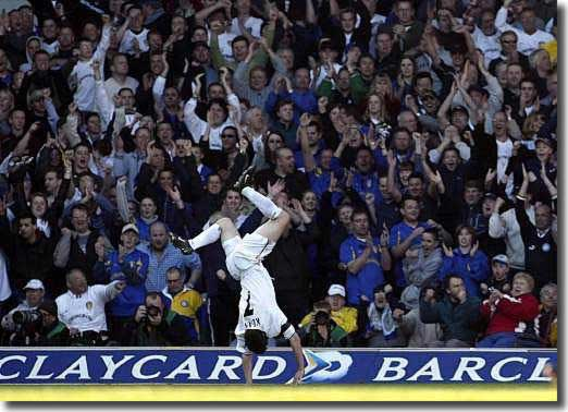 Robbie Keane in typical pose after scoring against Sunderland in April 2002