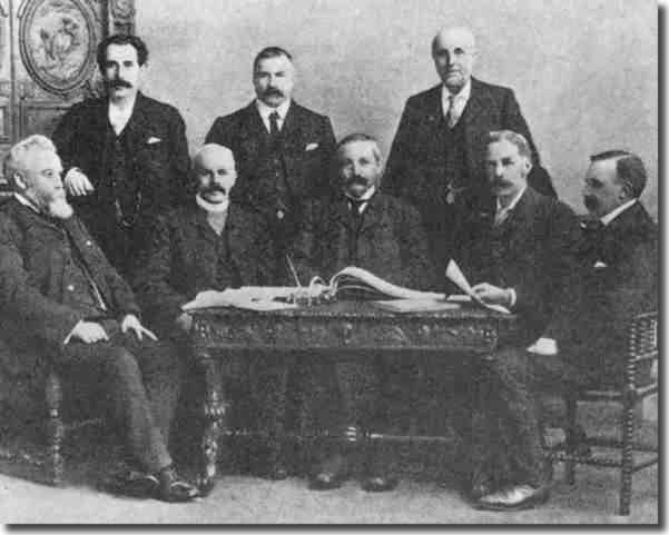 Football League Management Committee 1903-4.  Back row: W W Hart, J McKenna, H S Radford.  Front row: William McGregor, T H Sidney, J J Bentley, John Lewis, Tom Charnley