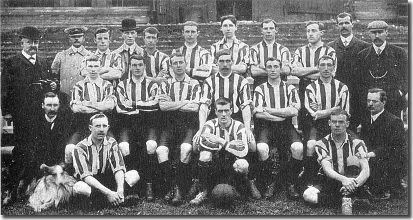 The 1905-06 squad - Back row: R Younger (director), R S Kirk (director), Morgan, Whittaker (director), Dooley, Macdonald, Austin, Walker, Singleton, R M Dow (director), G Swift (trainer).  Middle row: Gilbert Gillies (secretary-manager), Parnell, Watson, Hargraves, Ray, Dickie Morris, Clay, O Tordorf (director).  Front row: The City Dog, Stringfellow, Drain, Henderson