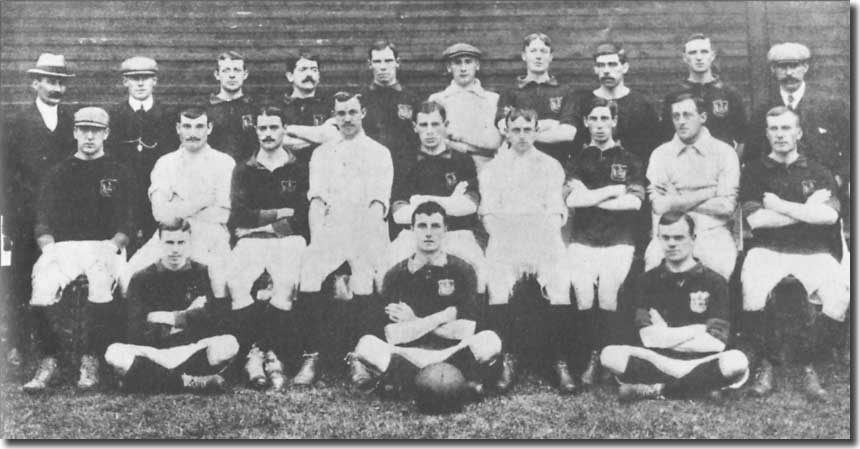 The 1906-07 squad Back row: Gilbert Gillies (secretary-manager), Morgan, Hargraves, Clark, Walker, Bromage, Freeborough, Ray, Kennedy, G Swift (trainer). Middle row: Whitley, Jefferson, Cubberley, Morris, D Murray, Harwood, Lavery, Singleton, W Murray.  Front row: Parnell, George, Henderson