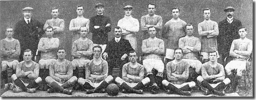 The 1909/10 squad Back row: Chapman (trainer), Affleck, Hogg, Bromage, Naisby, Morris, Dougal, McGowan, Thrupp (assistant trainer). Middle row: Beren, McAllister, White, Frank Scott-Walford (manager), Watson, Gemmell, Croot.  Front row: Hamilton, Burnett, Halligan, Roberts, Mulholland, Bridgett