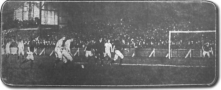 Action from the Leeds City-Bradford City match on the opening day of the 1906-07 season