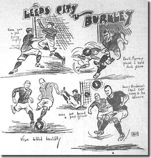 Yorkshire Evening Post 29 October 1906 - cartoon featuring the fateful Leeds City-Burnley game during which David Wilson lost his life