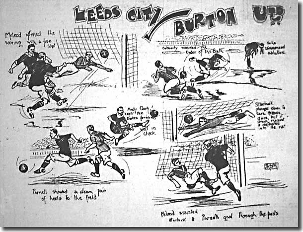 Cartoon from the 11 Feb 1907 edition of the Yorkshire Evening Post featuring Leeds City's 3-1 win against Burton United on the previous Saturday, with Billy McLeod scoring twice and Fred Parnell the other
