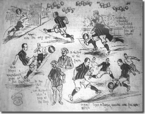 Frank Scott-Walford is pictured bottom centre of this Yorkshire Evening Post cartoon depicting Leeds City's defeat of Tottenham on 5 September 1908