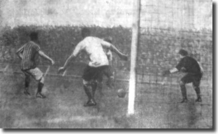 Fred Croot scores City's first goal in the 2-1 defeat of Derby at Elland Road on 11 September