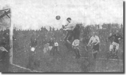 Owen heads England's first goal in the amateur international against Ireland played at Elland Road in November 1909