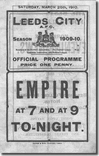 The programme from City's match against Bradford on 26 March 1910, when Astill played his only first team game