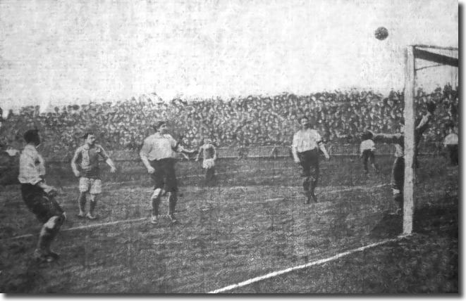 Wolves keeper Tommy Lunn watches Billy McLeod's shot go harmlessly over the bar during City's 1-0 win at the beginning of April