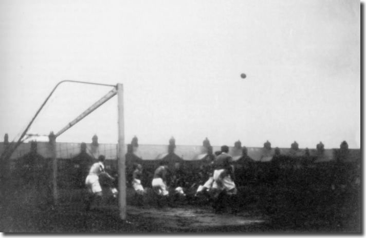 Leeds City attack the Leicester Fosse goal during the draw on the last day of the 1909/10 season