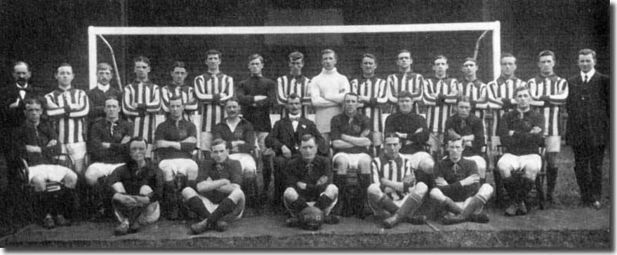 The 1911/12 squad - Back: Collins (trainer), Clarkin, Stead, Johnson, Cunningham, Heaney, Hogg, McDaniel, Murphy, Moran, A Roberts, R Roberts, Briggs, Foley, Fortune, Harbourne - Middle: H Roberts, Mulholland, Harkins, Cubberley, Scott-Walford (manager), Morris, Kelly, Enright, Croot - Front: Creighton, Affleck, McLeod, Gillespie, Bridgett