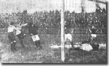 Joe Moran settles the home match with Derby on 30 March 1912 by putting an own goal past Cecil Reinhardt - the keeper never appeared again for City