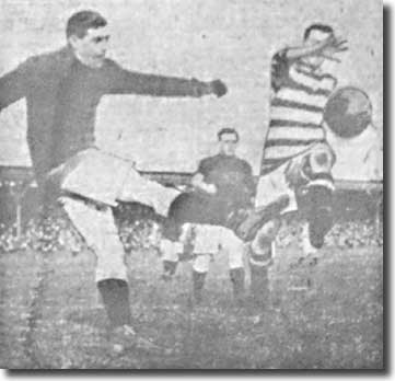 Billy Scott clears his lines during City's 1-0 win at Bradford on 21 September 1912