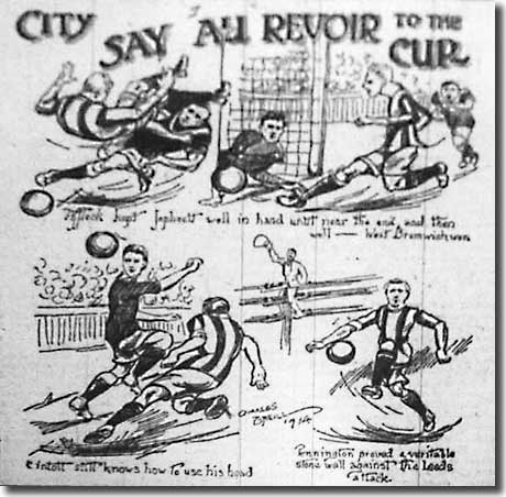 A Yorkshire Evening Post cartoon featuring the Cup-tie against West Bromwich Albion on 31 January