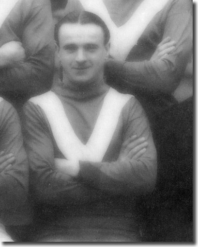 Tommy Mayson pictured in a Leeds City team group when they drew 1-1 at Birmingham on 3 February 1917