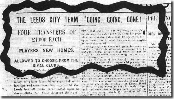 Newspaper headlines following the auction of City players October 1919
