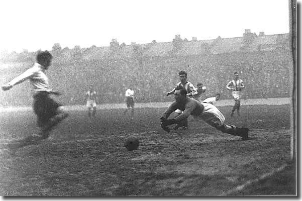 Goalkeeper Bill Johnson saves as Tottenham attack at White Hart Lane on December 19 1925.  Leeds lost the match 3-2