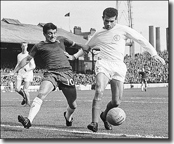 Paul Reaney in action at Stamford Bridge against Chelsea's Terry Venables