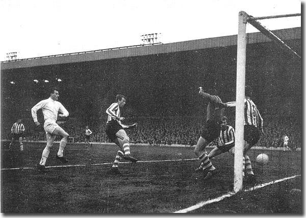 Jim Storrie scores against Sheffield Wednesday in a 2-0 win on April 20 that avenged a defeat by the same opponents the previous day at Hillsborough