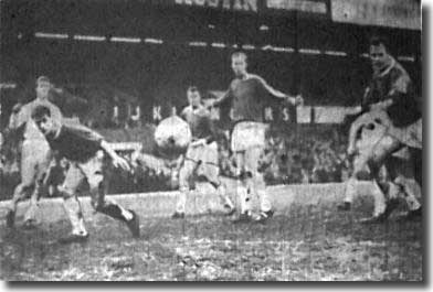 The Birmingham defence have the upper hand on Jack Charlton as he supports the Leeds attack