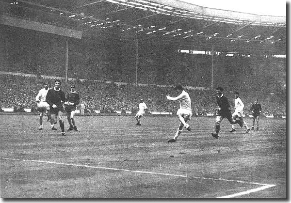 Billy Bremner volleys home the equaliser in the Cup final