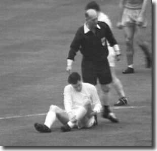 Storrie goes down with an injury during the 1965 FA Cup final - he was never the same player for Leeds thereafter