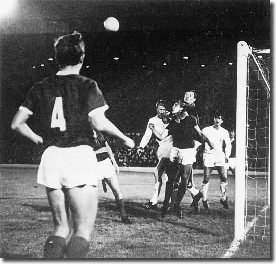Jack Charlton battles with the Dinamo Zagreb defence during the home leg of the 1967 Fairs Cup final