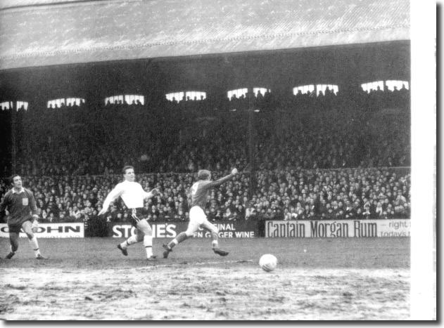 Mick Jones wheels away after scoring at Fulham on January 6. Goalkeeper Macedo and full-back Conway can do nothing about it