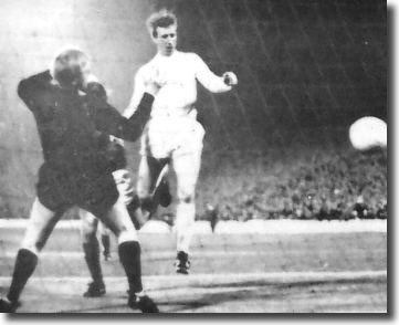 Jack Charlton heads a late equaliser against Hibs at Easter Road to put United through in the Fairs Cup