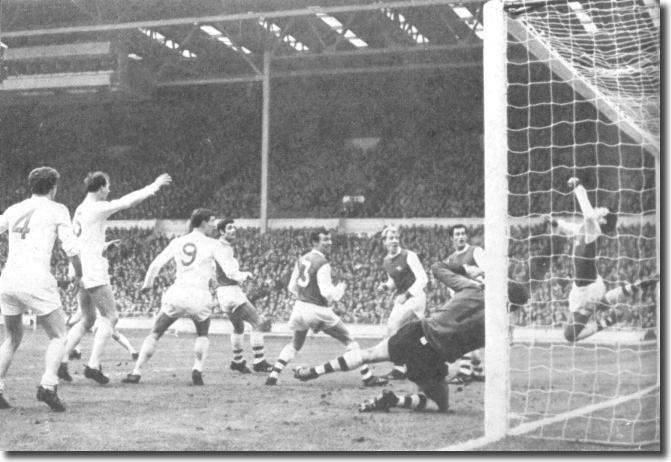 Bremner, Charlton and Madeley watch as Terry Cooper's shot beats the Arsenal defenders to open the scoring in the 1968 League Cup final. The Gunners in the picture are McLintock, McNab, Ure, Graham, Furnell and Storey