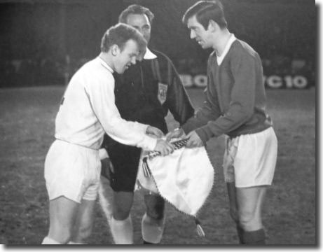 Billy Bremner and John Greig of Rangers exchange pennants before the Fairs Cup tie at Ibrox