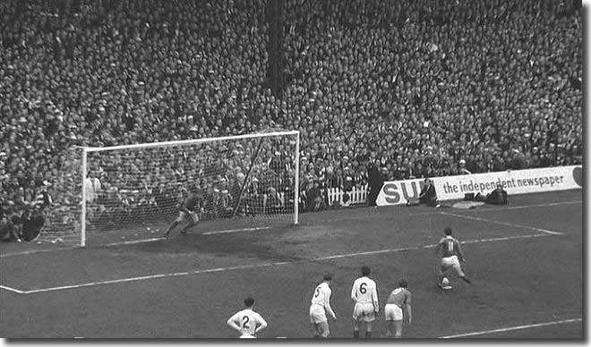 Everton's Johnny Morrissey is about to beat Gary Sprake from the penalty spot to settle the 1968 FA Cup semi final