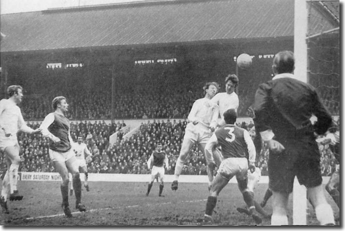 Paul Madeley heads into the Sheffield Wednesday net during the FA Cup third round tie on January 4, but the goal is disallowed by referee Jim Finney
