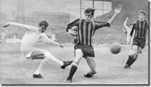 Tommy Booth cannot prevent Allan Clarke cracking a shot against the City bar