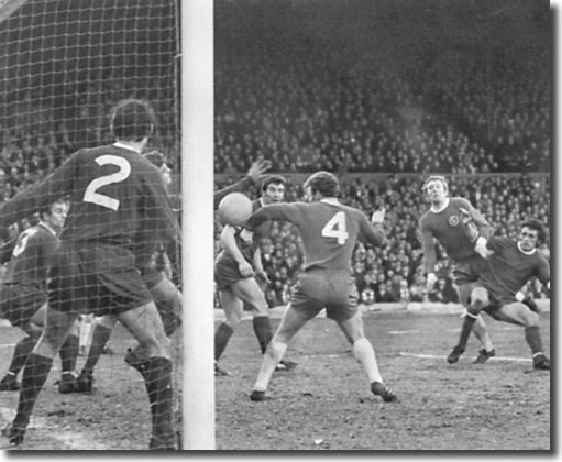Mick Jones scores a late goal against Swansea in the Cup third round with Billy Bremner in close attendance
