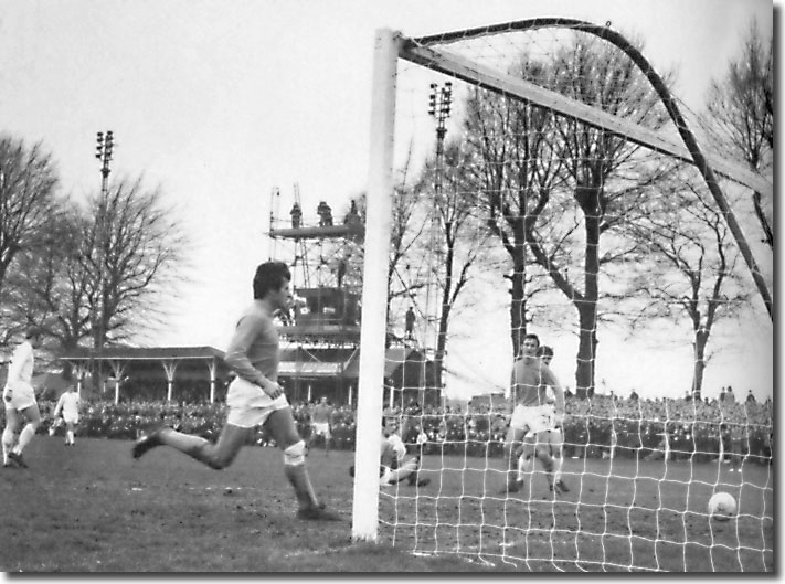 Peter Lorimer (hidden behind a Sutton defender in the centre) slides home United's fifth goal