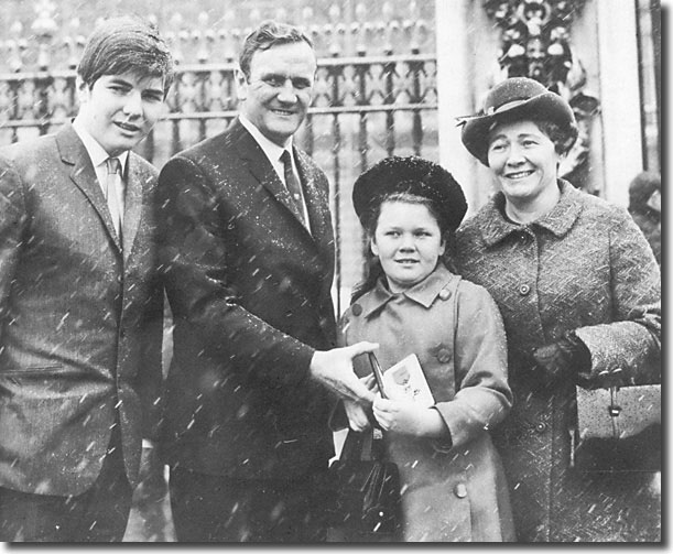 Don Revie outside Buckingham Palace in January 1970 with wife Elsie, son Duncan (15) and daughter Kim (10) showing off his OBE