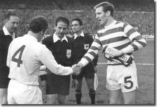 Billy Bremner shakes hands with Celtic counterpart  Billy McNeill before the start of the first leg of the semi final at Elland Road