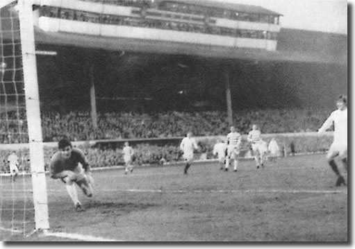 Celtic keeper Evan Williams is helpless as Billy Bremner lashes home his goal at Hampden