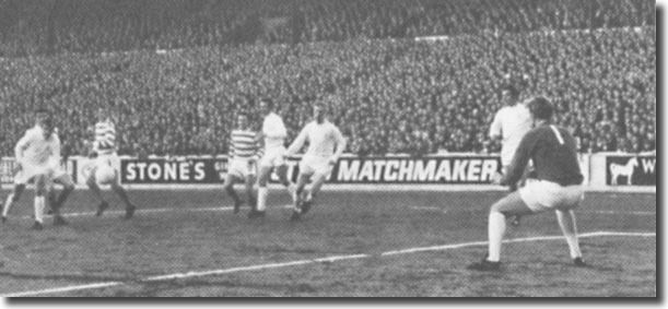 George Connelly's shot for Celtic is deflected past Gary Sprake by Terry Cooper for the only goal of the game at Elland Road