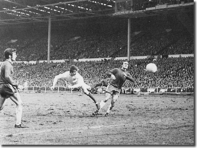 Allan Clarke twists into a header against Chelsea - the ball hit the upright but Mick Jones crashed home the rebound