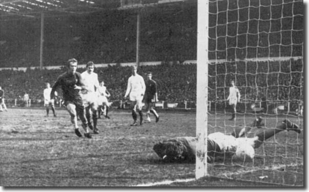 It's the image that will haunt Gary Sprake forever - Houseman's long range effort squirms under the keeper's body to bring Chelsea level