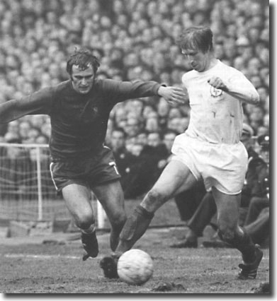 Jack Charlton shields the ball from Tommy Baldwin - the United defenders normally had the better of the opposition forwards