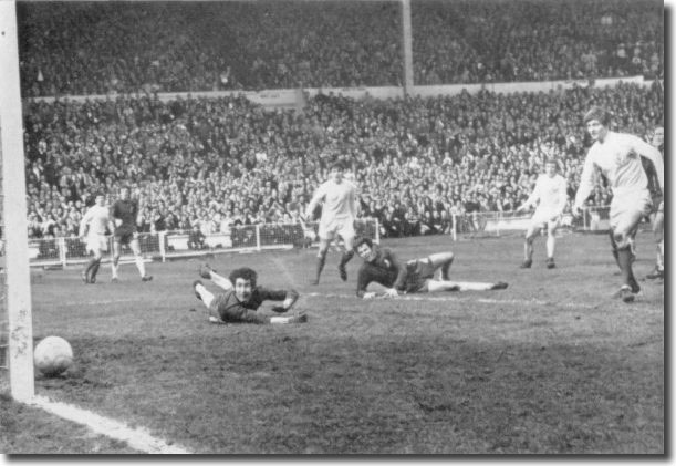 Peter Bonetti can do nothing to prevent Mick Jones scoring the goal that put Leeds 2-1 ahead