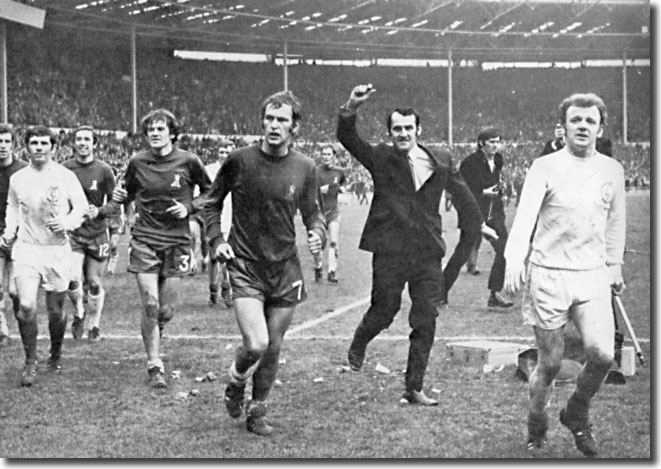 Johnny Giles and Billy Bremner join Chelsea players on a lap of honour after the Wembley final