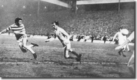 John Hughes gets in front of Jack Charlton to nod home for Celtic at Hampden