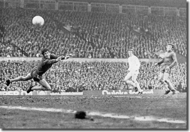 "Peter Bonetti is left helpless by Jones' shot ... ""it revived memories of Ted Drake in his heyday"""