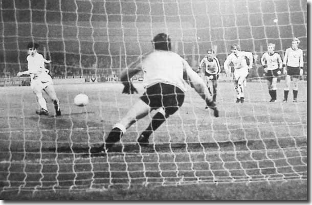 Peter Lorimer scores the only goal of the Fairs Cup-tie at Elland Road against Dynamo Dresden from the penalty spot